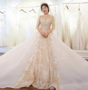 Gold long sleeve Wedding Dress Gown RB0766
