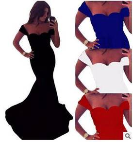 Black blue white red dinner dress prom