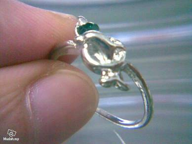ABRSM-D034 Silver Metal Cute Lovely Dolphin Ring