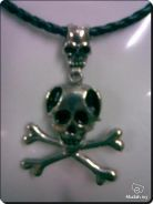 Cool Rocker Danger Head Necklace Silver Metal