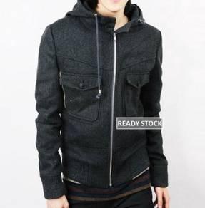 D.HOMME Zipper Hoodie Sweater Woolen Thick Jacket