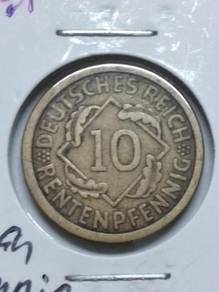 Vintage German 10 RentenPfennig Coin 1924