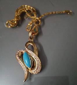 ABPGF-C001 Gold Fill Blue Cat Eye Crystal Necklace