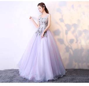 Purple pink puffy wedding bridal prom dress RB0347