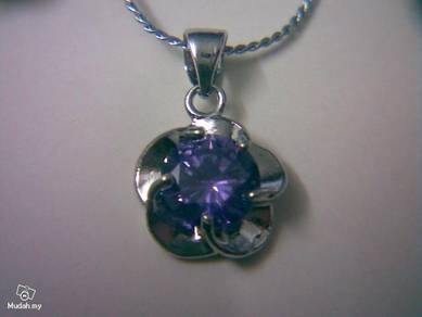ABPSM-P005 Purple Crystal Silver Color Necklace