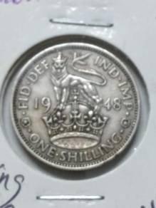 Vintage UK King George VI 1 Shilling Coin 1948