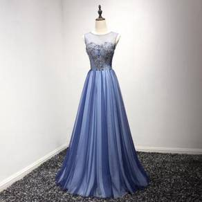 Blue prom dress wedding bridal gown RB0099