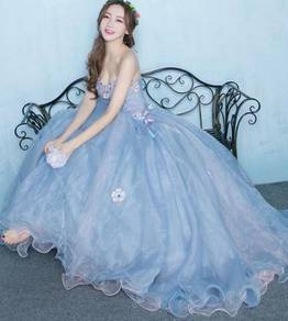 Blue puffy wedding bridal prom dress RB0346