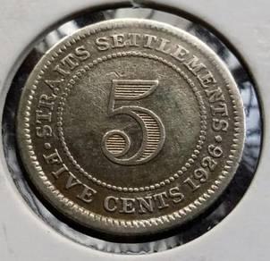 Straits Settlements 5 Cents 1926 (Item A)