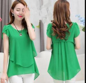 Sleeved Chiffon Top Shirts(WCYLL 28273)