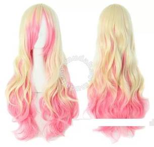 Wig Mix Color Female Long Curl Hair-LLC4 Pk Yellow