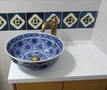 New! Basin Sink Table Top Ceramic Bunga Biru