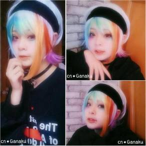 Female anchors Multi colour cosplay fashion wig