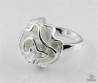 ABRS9-R001 925 Silver Rose Flower Ring - Size 8