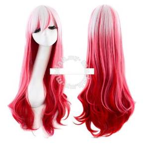 Wig Mix Color Female Long Curl Hair-LLC4 Red white