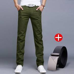 J0457 Belt   Army Green Formal Casual Long Pants
