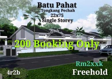 Batu Pahat Tongkang Pechah New Single Storey House 4r2b 0% Dp