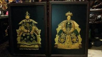 Pair of chinese emperor frames antique vintage SLG