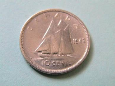 Canada King George VI 10 Cents 1943 Silver Coin