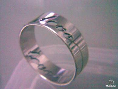 ABRSS-L009 Silver Drill Stainless Ring - Love Sz12