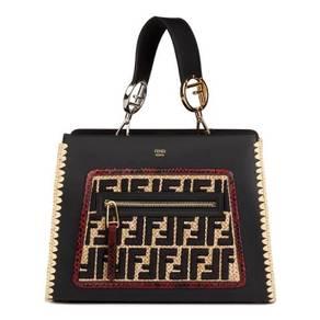 Fendi Black Embroidered Raffia & Red Python