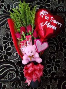 Bouquet fresh flower dan coklat