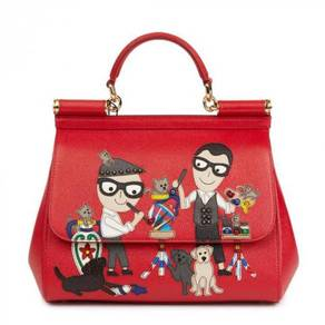 Dolce & Gabbana Red Beaded Dauphine Leather DG Fam