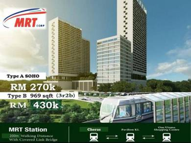 Cheras Perdana Freehold Condo 3r2b2cp MRT Link Batu 9
