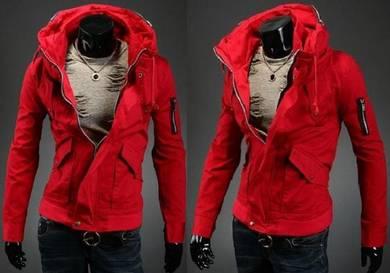 J93197 Red Dual Collar Hiking Coat Sweater Jacket
