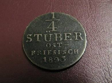 German states 1/4 stuber 1823 east friesland (EF)