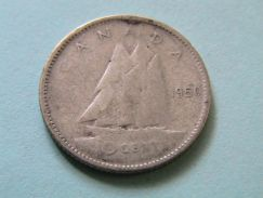 Canada King George VI 10 Cents 1950 Silver Coin