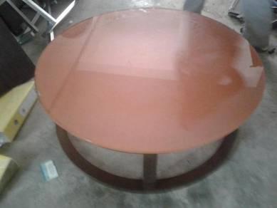 Round Orange Temper Glass Coffee Table