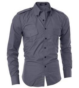 J5115 Grey Double Pocket Formal Long Sleeve Shirt