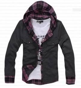 J05048 Hoodies 2-In-1 Long Sleeves Cardigan Shirt