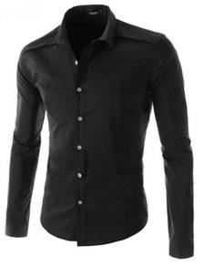 0588 Plain Black Formal Casual Long Sleeved Shirt