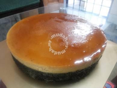 Kek karamel (gula hangus) coklat