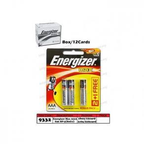 9332 Energizer Battery MAX AAA E92 BP-3(B2G1)