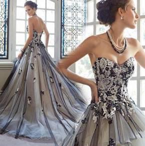 Black rose wedding bridal photoshooting prom dress
