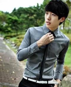 (530A) Grey Man Plain Formal Long-Sleeved Shirt