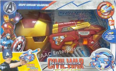 Soft Foam Bullet Darts Shoot Gun Pistol + Iron Man