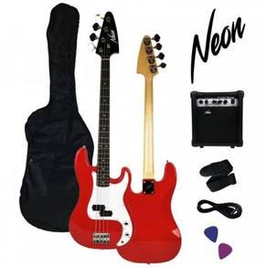 NEW~Taloha NEON Electric Bass Guitar Package