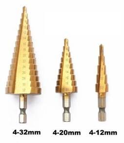 3pc HSS Steel Step Cone Drill Bit 4mm-12/20/32mm