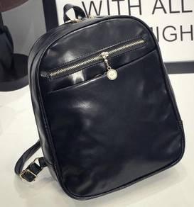 01610 Retro Trendy Korean Style Backpack Black Bag