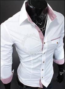 New korean elegant plaid stripe slimfit shirt (W)