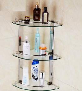 Bathroom glass rack T304 ( corner ) / rak