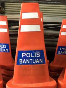 Triangular sandbase traffic cone POLIS reflective