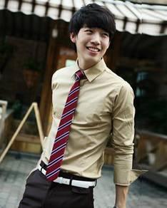 (530A) Khakis Man Plain Formal Long-Sleeved Shirt
