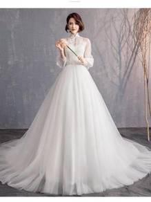 White long sleeve wedding bridal gown RBMWD0307