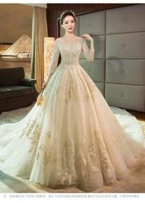 Cream long sleeve wedding bridal gown RBMWD0306