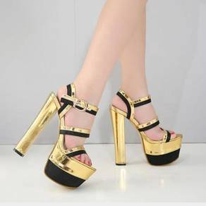 Pump party high heels 16.5cm gold black RBH0255